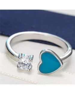 Cute Heart and Cubic Zirconia Open-end Design Fashion Ring - Blue
