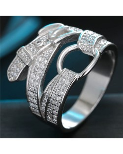 Cubic Zirconia Embellished Belt Design Fashion Ring