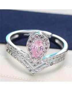 Luxurious Cubic Zirconia Royal Princess Pinky Fashion Ring