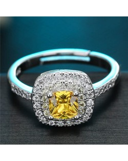 Cubic Zirconia Inlaid Graceful Square Design Fashion Ring - Yellow