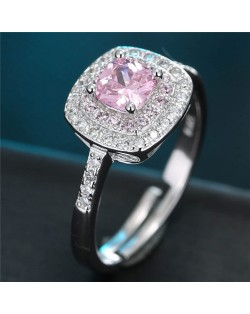 Cubic Zirconia Inlaid Graceful Square Design Fashion Ring - Pink