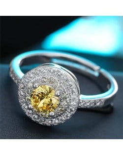 Cubic Zirconia Embellished Exquisite Round Fashion Statement Ring - Yellow