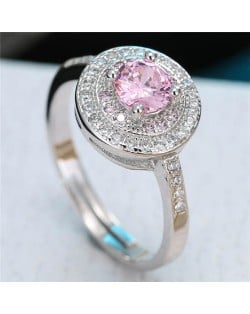Cubic Zirconia Embellished Exquisite Round Fashion Statement Ring - Pink