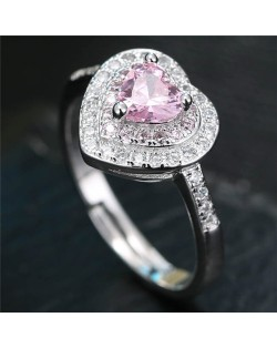 Cubic Zirconia Embellished Delicate Heart Design Fashion Ring - Pink