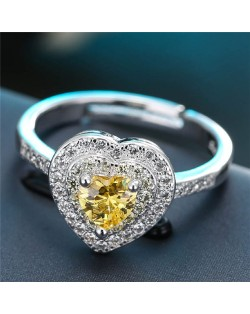 Cubic Zirconia Embellished Delicate Heart Design Fashion Ring - Yellow