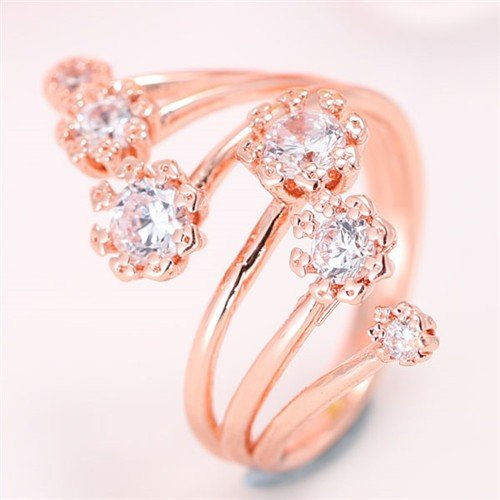 Korean Fashion Graceful Design Cubic Zirconia Inlaid Floral Ring