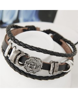 Plum Blossom Shape Anchor Symbol and Hoops Decorations Leather Fashion Bracelet