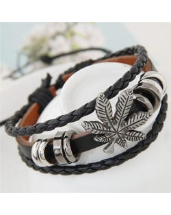 Vintage Leaf and Alloy Rings Decorations Leather Fashion Bracelet