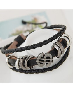 Vintage Dollar Symbol and Rings Multi-layer Leather Bracelet