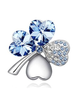 Austrian Crystal and Czech Stones Four Leaf Clover Brooch -  Light Blue