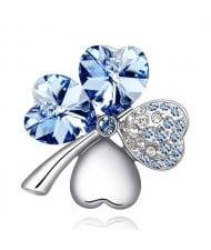 Austrian Crystal and Czech Stones Four Leaf Clover Brooch - Light Blue