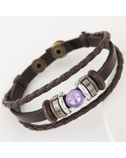 Purple Gem Inlaid Triple Layers Weaving Leather Bracelet