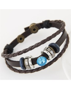 Blue Gem Inlaid Triple Layers Weaving Leather Bracelet