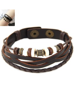 Vintage Beads Decorated Multi-layers Leather Fashion Bracelet - Brown