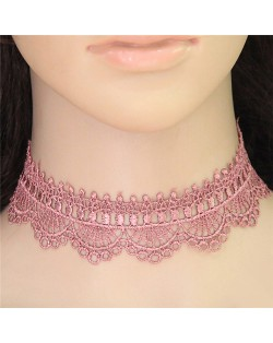 Pinky Floral Pattern Lace Women Fashion Necklace