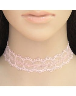 Young Girls Fashion Pink Lace Necklace