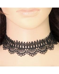 Western Fashion Floral Style Hollow Black Lace Necklace