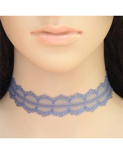 High Fashion Blue Floral Lace Necklace