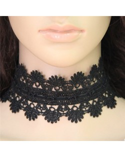 Western High Fashion Hollow Floral Pattern Wide Black Lace Necklace