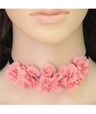 Sweet Pinky Cloth Flowers Rope Costume Necklace