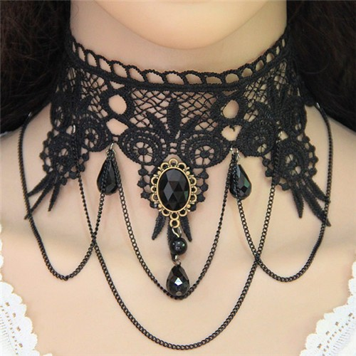 Vintage Tassel Chain and Gem Buckle Decorated Floral Black Lace Choker Necklace