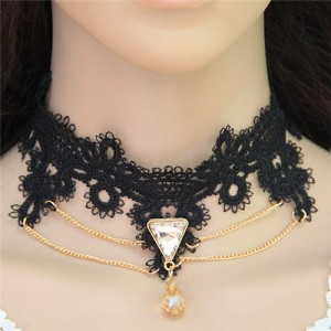 Triangle and Waterdrop Pendants with Golden Chain Design Black Lace Choker Necklace