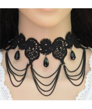 Waterdrops and Tassel Design Hollow Floral Black Lace Statement Necklace