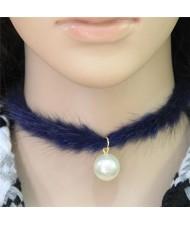 Pearl Pendant Artificial Mink Hair Short Fashion Necklace - Blue