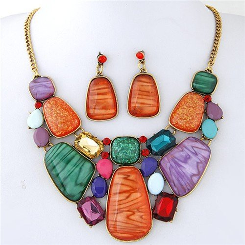 Luxurious Assorted Gems Combo Fashion Design Statement Necklace - Multicolor
