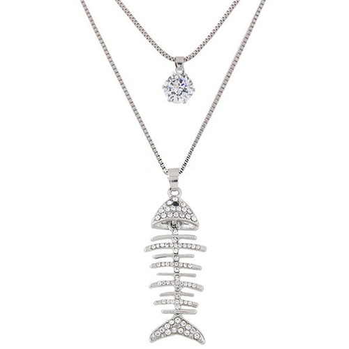 Rhinestone inlaid fish skeleton pendant design dual layers for Fish skeleton necklace