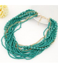 Mini Beads and Alloy Chain Mix Fashion Chunky Style Short Costume Necklace - Teal