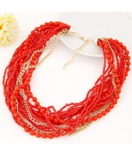 Mini Beads and Alloy Chain Mix Fashion Chunky Style Short Costume Necklace - Red