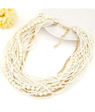 Mini Beads and Alloy Chain Mix Fashion Chunky Style Short Costume Necklace - White