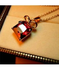 Fashion Bow-know Red Crystal 18k Rose Gold Plated Necklace