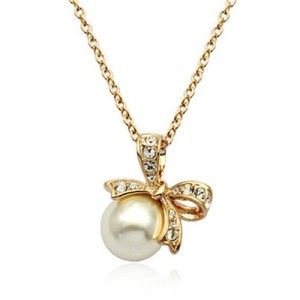 Bowknot Decorated Pearl Pendant 18k Rose Gold Plated Necklace