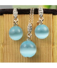 Blue Opal Balls 18k Rose Gold Plated Necklace and Earrings Set