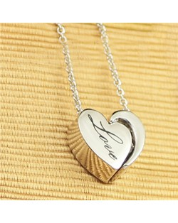 Love Engraved Heart Pendant Platinum Plated Necklace