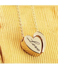 Love Engraved Heart Pendant Rose Gold Plated Necklace