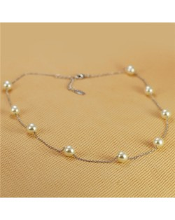 Pearl Embellished 18K Platinum Plated Short Slim Chain Necklace