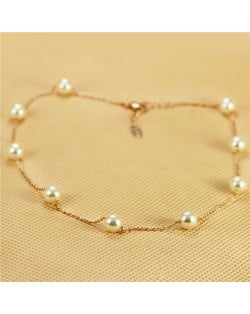 Pearl Embellished 18K Rose Gold Plated Short Slim Chain Necklace