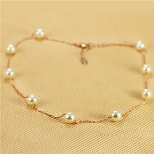 Pearl Embellished 18K Rose Gold Plated Short Slim Chain Necklace