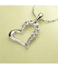 Rhinestone Embellished Artistic Romantic Heart Pendant Platinum Plated Necklace