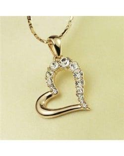 Rhinestone Embellished Artistic Romantic Heart Pendant Rose Gold Plated Necklace