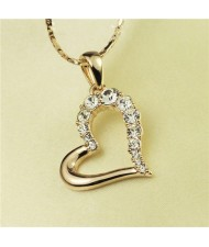 Rhinestone Embellished Artistic Romantic Heart Pendant Rose Gold Plated Necklace