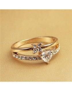 Crystal Heart and Flower Inlaid Dual Layers Rose Gold Fashion Ring