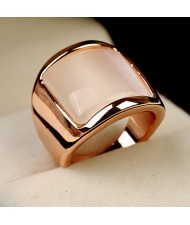 Square Opal Inlaid Wide Style 18K Rose Gold Plated Ring