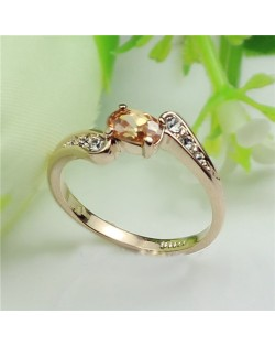 Champagne Crystal Inlaid Elegant Style Rose Gold Plated Ring
