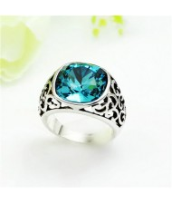 Aquamarine Crystal Propitious Cloud Design Hollow Style Platinum Plated Ring