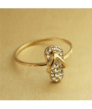 Rhinestone Inlaid Slippers Rose Gold Plated Ring
