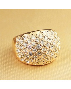 Shining Rhinestone Embellished Chunky Style 18k Rose Gold Ring